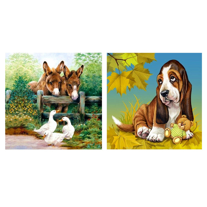 Cross Stitch Kits Creative  Animals Printed DIY Ecological Cotton