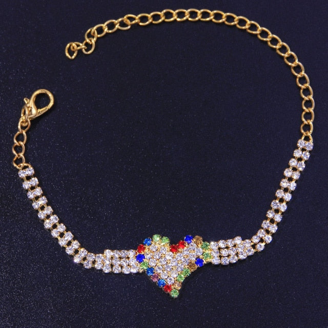 Double-Layer Colorful Heart Anklet Bracelet