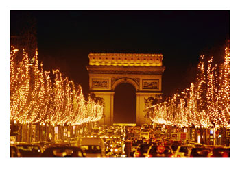 <105441~A-Night-View-of-the-Arc-De-Triomphe-and-the-Champs-Elysees-Lit-up-for-Christmas-Posters.jpg>