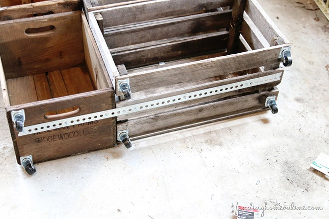 Adding-Casters-Vintage-Crate-Boot-Rack