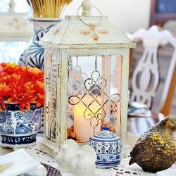 Blue and White Fall Dining Room thumbnail picket fence