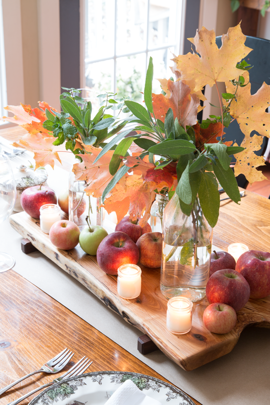fall-centerpiece-apples-leaves