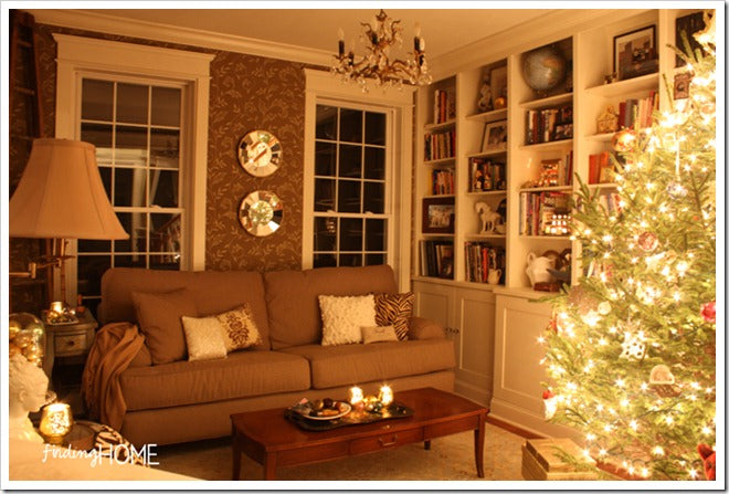 Finding Home Holiday Housewalk Living Room at Night
