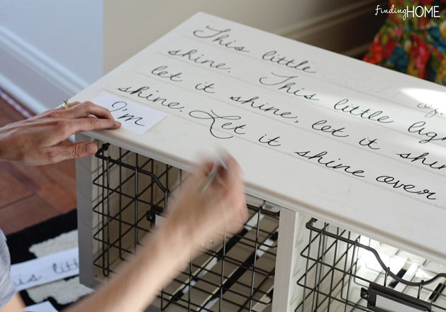 Tutorial for Creating a Script Coffee Table with a Sharpie Paint Pen