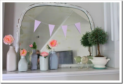 burlap and lace spring mantel