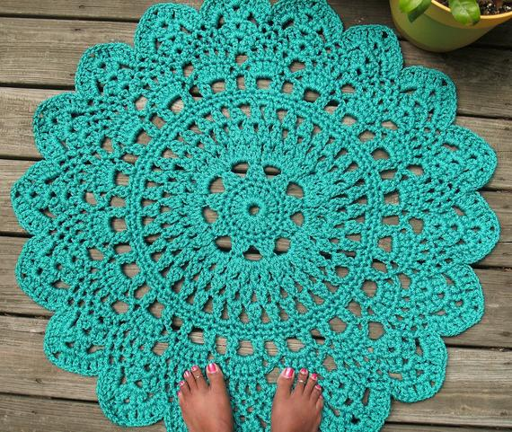 Turquoise Patio Porch Cord Crochet Rug in 35