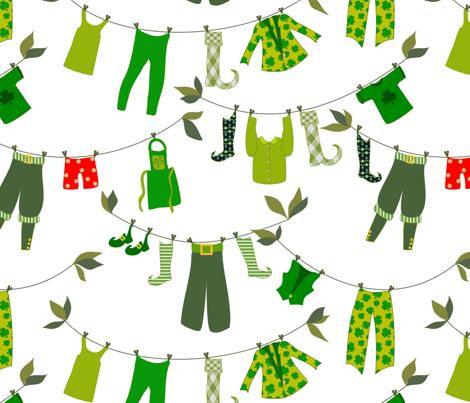 Sure and Begorrah, it's leprechaun laundry day fabric by vo on Spoonflower - custom fabric