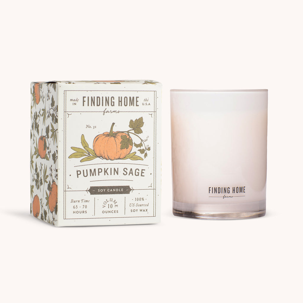 Pumpkin Sage Soy Candles 10 oz Boxed Candle - Sage Scented Candle - Finding Home Farms