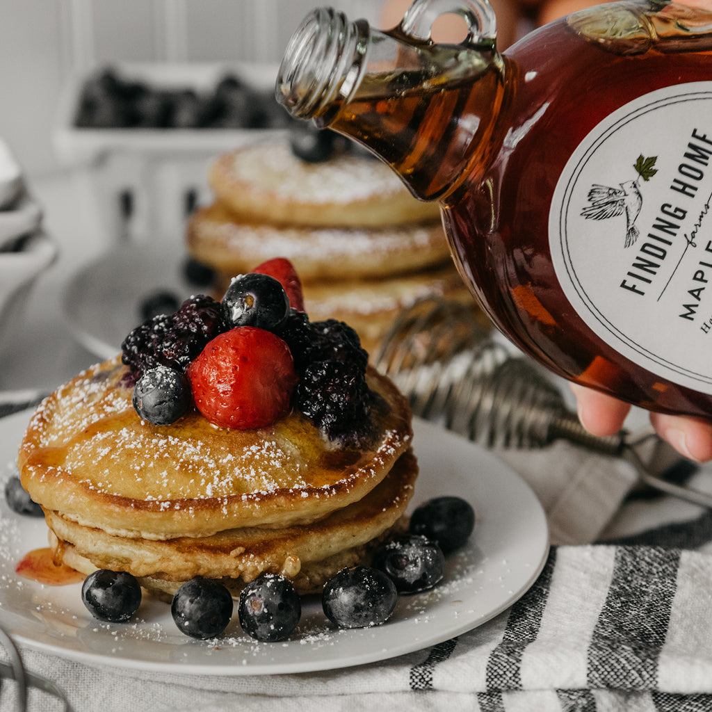 Finding Home Farms - 12 oz Organic Maple Syrup with Pancakes - Best Tasting Maple Syrup