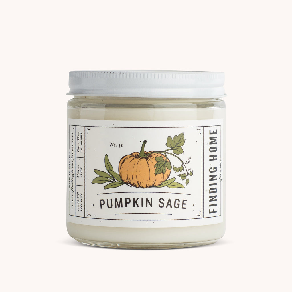 Pumpkin Sage Soy Candles 13 oz - Sage Scented Candle - Finding Home Farms