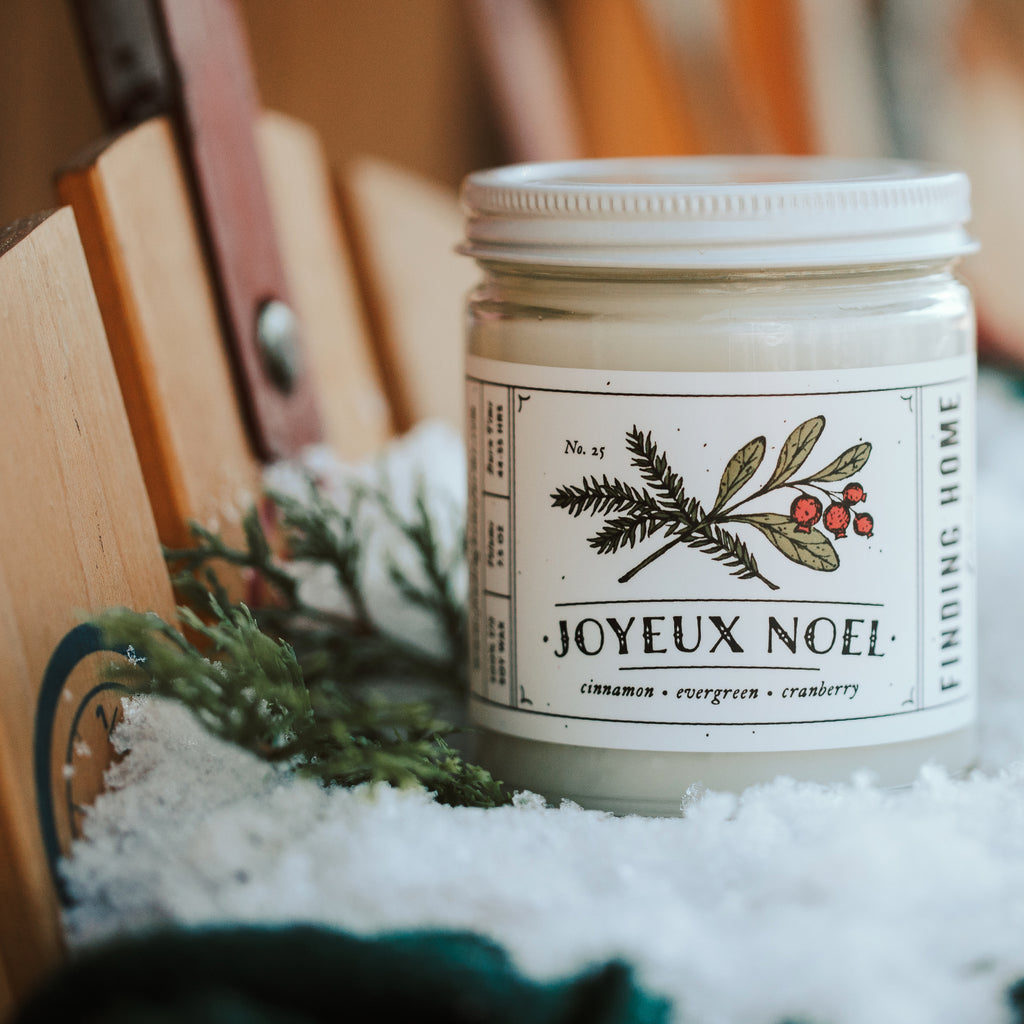 Joyeux Noel Soy Candle - Merry Christmas - Cinnamon Evergreen Cranberry - Finding Home Farms