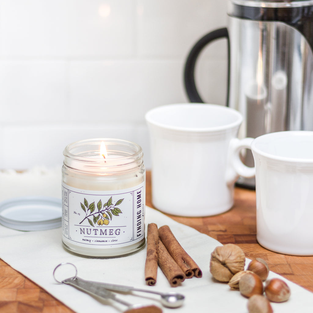 Nutmeg Soy Candle - Cinnamon & Clove Scented Candle - Finding Home Farms