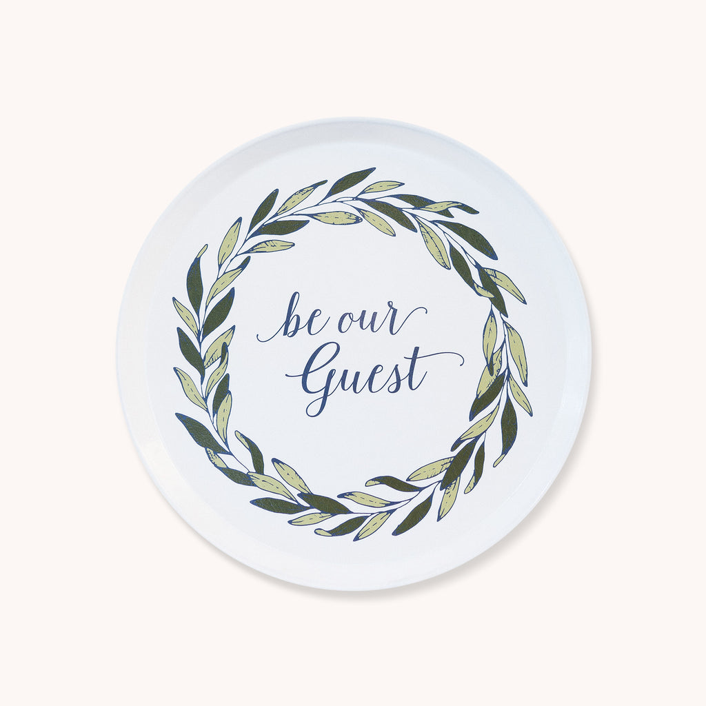 Be Our Guest Gathering Tray - Round Serving Tray - Fiberglass Tray - Finding Home Farms