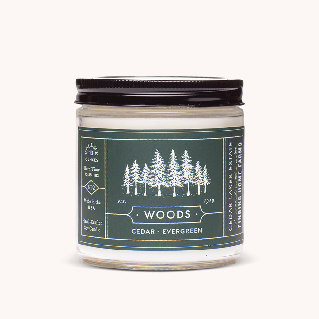 Cedar Lakes Estate - Woods Soy Candle - Cedar & Evergreen Scented Candle - Finding Home Farms
