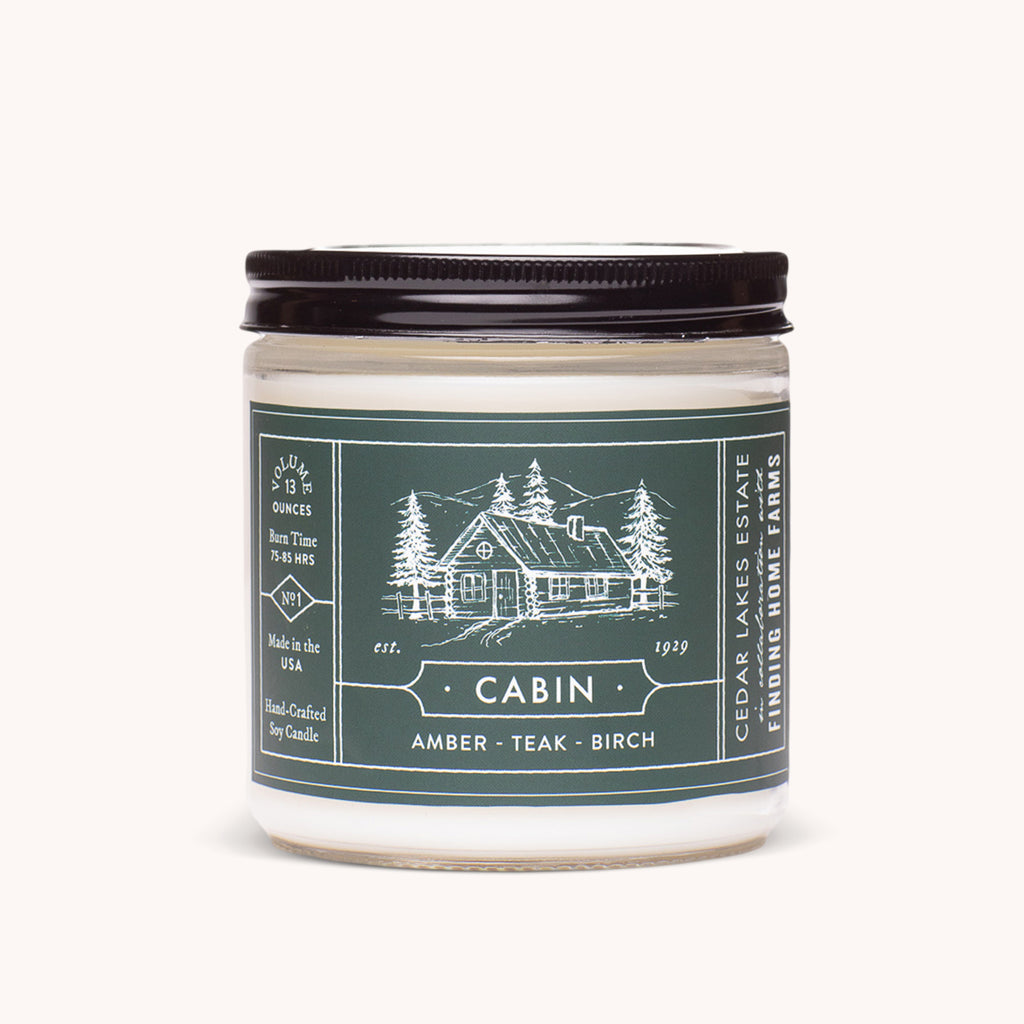 Cedar Lakes Estate - Cabin Soy Candle - Amber, Teak, and Birch Scents - Finding Home Farms