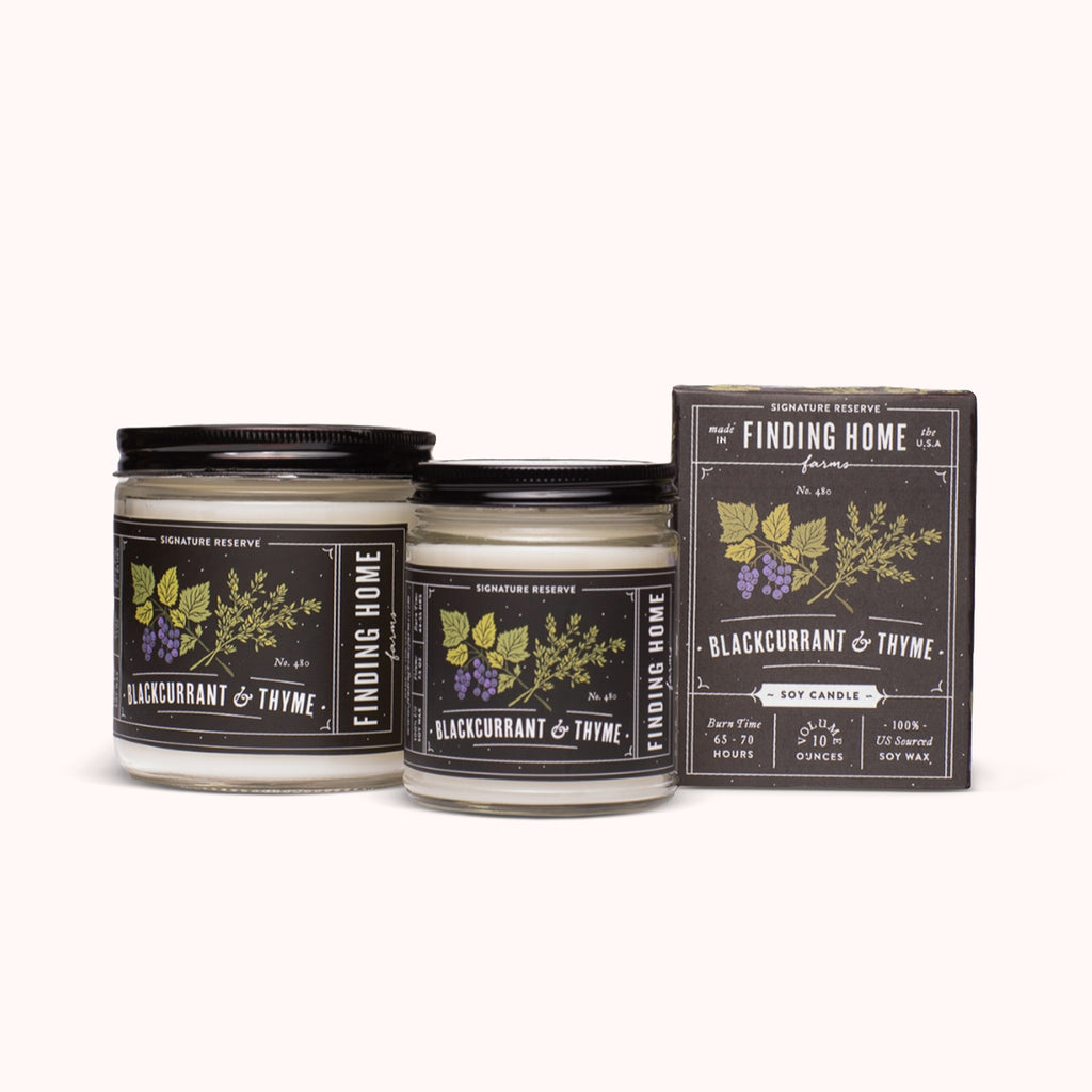 Blackcurrant & Thyme Soy Candles - Earthy Scented Candle - Finding Home Farms