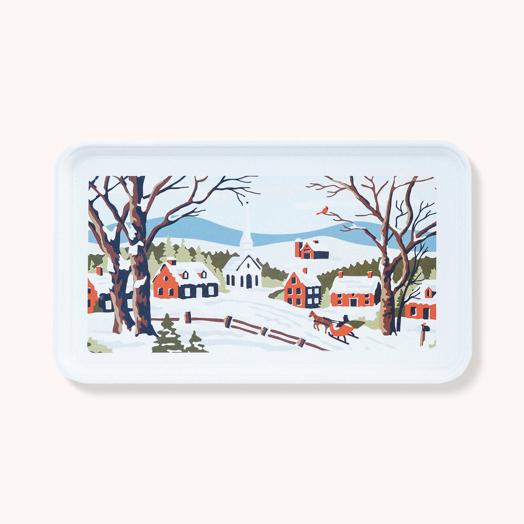 Village Scene Tray - Large Fiberglass Serving Tray - Finding Home Farms