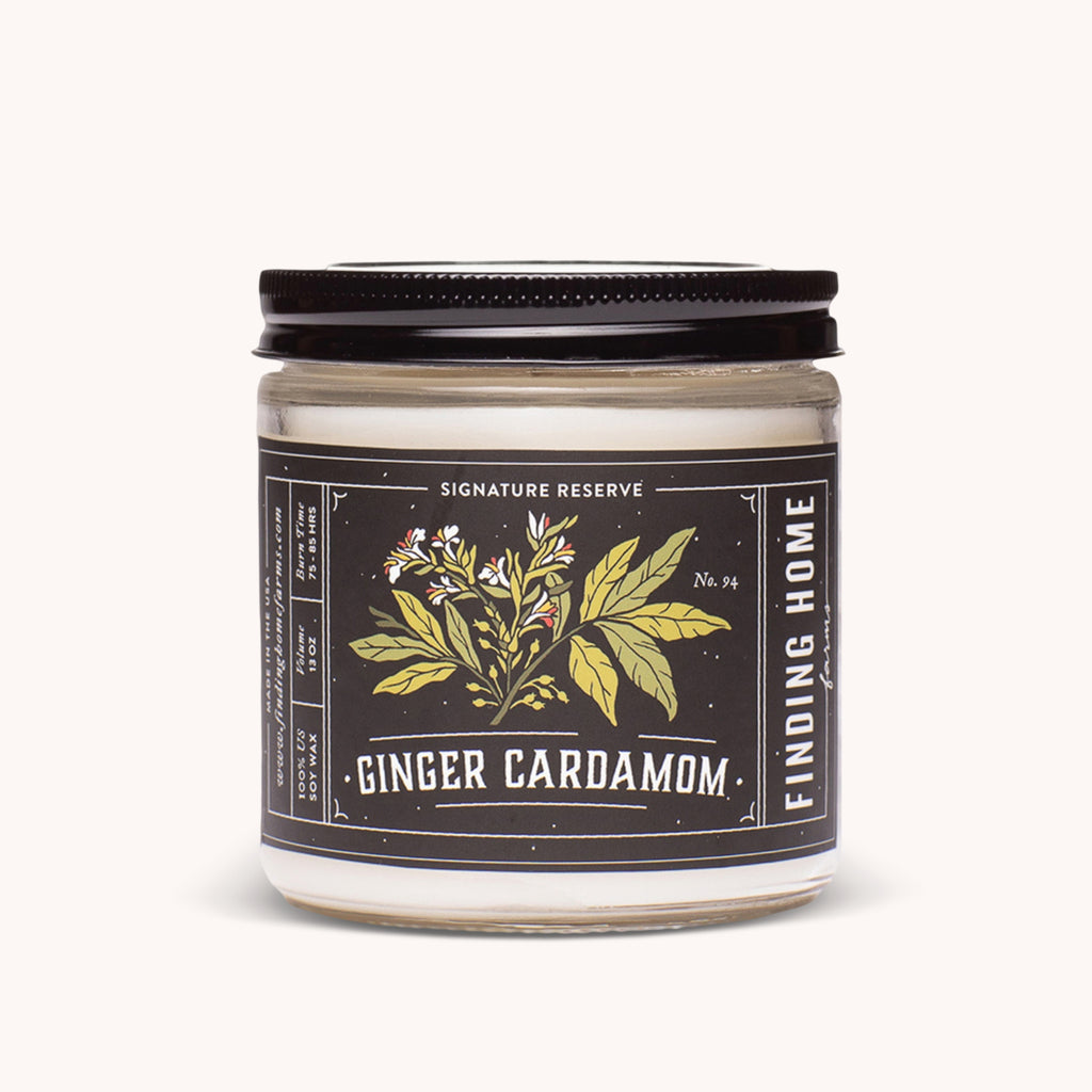 Ginger Cardamom Soy Candles 13 oz - Earthy Scented Candle - Finding Home Farms