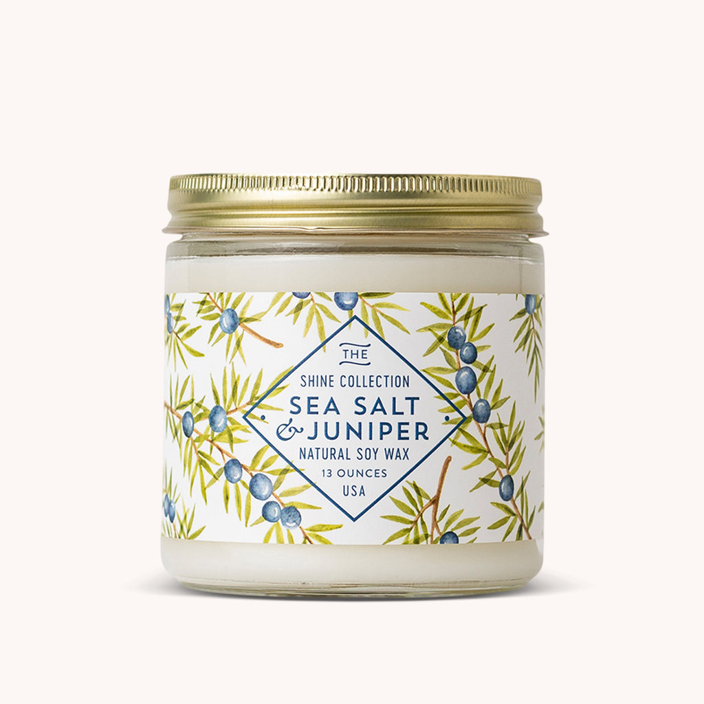 Sea Salt & Juniper Soy Candle - 100% Soy Wax Candle - Fresh Scented Candle - Finding Home Farms
