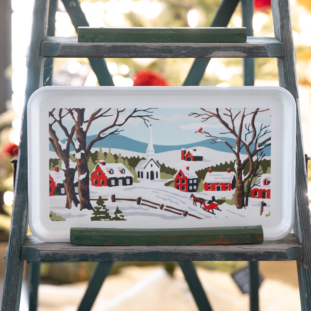 Village Scene Tray - Large Fiberglass Serving Tray Home Decor - Finding Home Farms