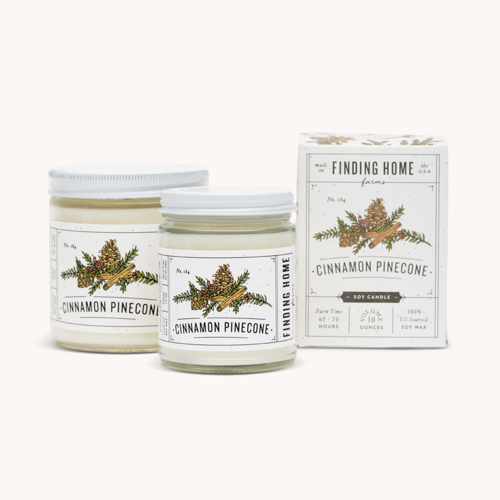 Cinnamon Pinecone Soy Candles - Relaxing Candle - Earthy Scented Candle - Finding Home Farms