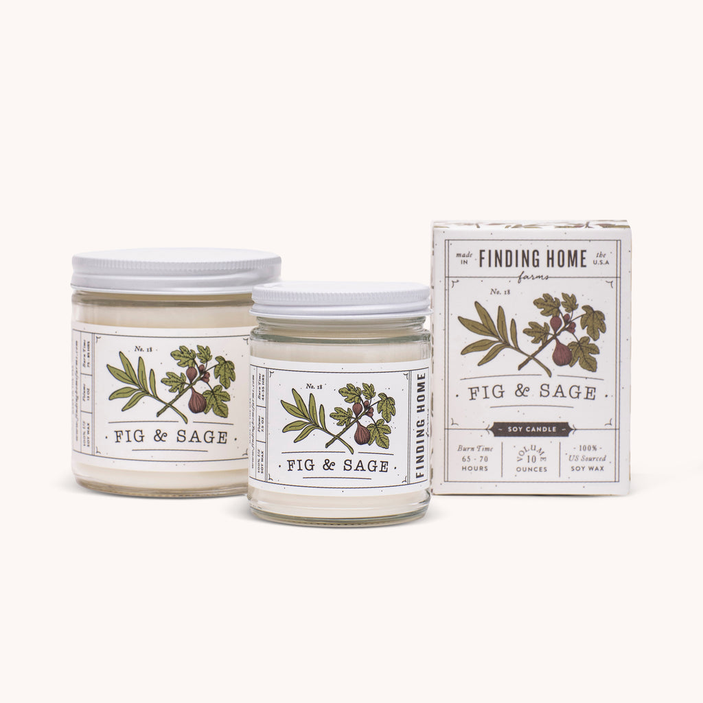 Fig & Sage Soy Candles - 100% Soy Wax Candles - Sweet Scented Candle - Finding Home Farms