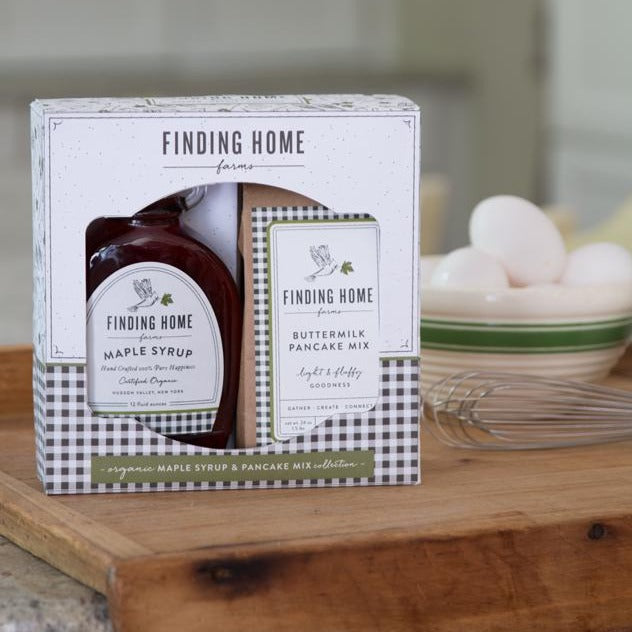 Organic Maple Syrup & Pancake Mix Gift Set - Breakfast Syrup & Pancakes - Finding Home Farms