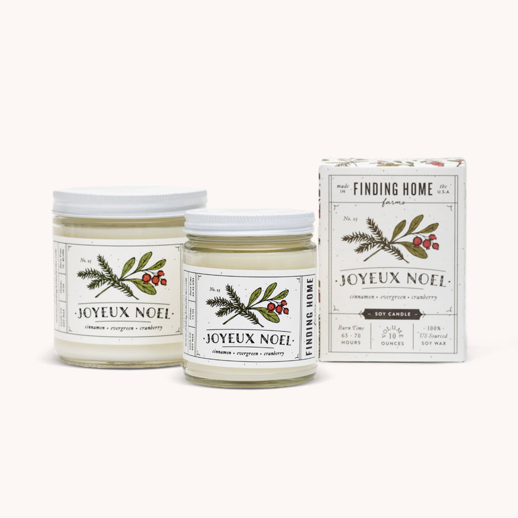 Joyeux Noel Soy Candle - Holiday Scented Candles - Cinnamon Evergreen Cranberry - Finding Home Farms
