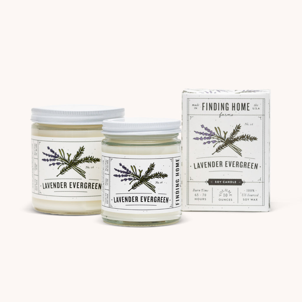 Lavender Evergreen Soy Candles - Floral Scented Candle - Finding Home Farms