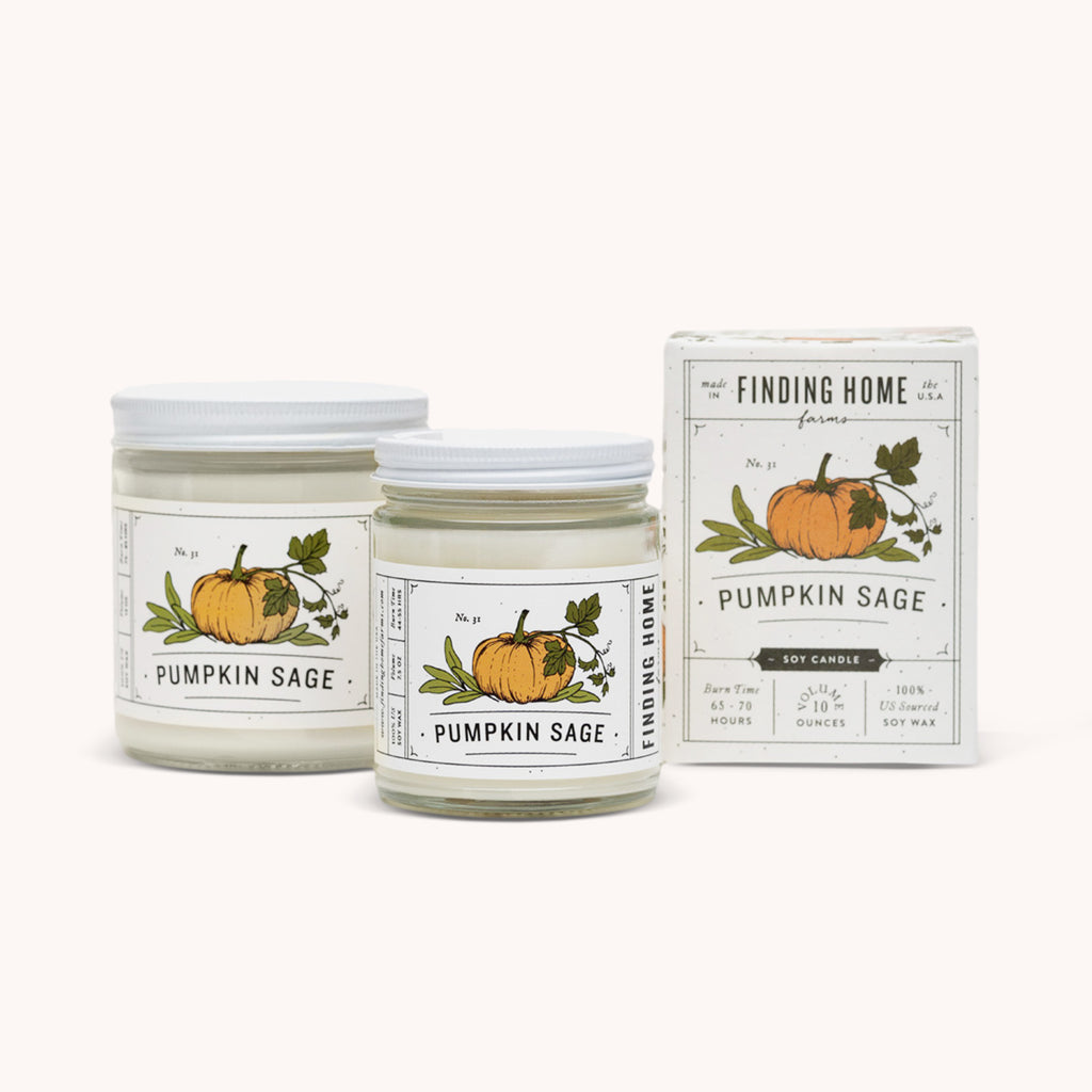 Pumpkin Sage Soy Candle - Sage Scented Candles - Fall Candle - Finding Home Farms