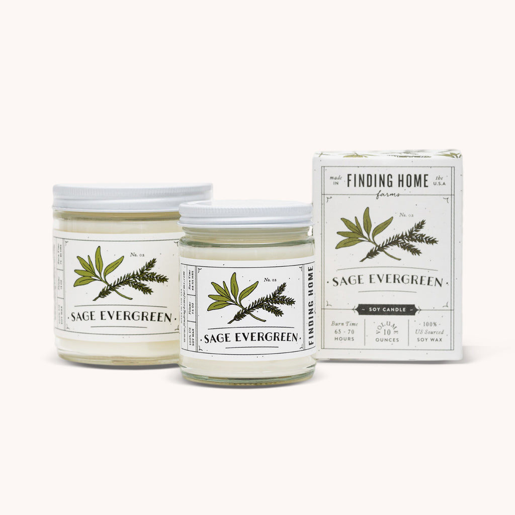 Sage Evergreen Soy Candles - Refreshing Candle - Finding Home Farms