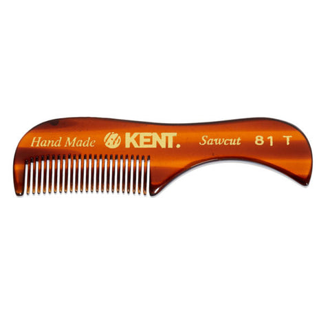Kent Mustache Comb Warning: this is not some cheap plastic comb that you get in a gift bag at your company's holiday party. Made from cellulose acetate (feel free to Google that), our mustache comb is perfect for any mustache and runs smoothly through all textures, keeping your facial hair on point. Our combs' teeth are saw cut, so they won't get caught in your 'stache, meaning you won't have to chalk up the tears in your eyes to chopping onions.
