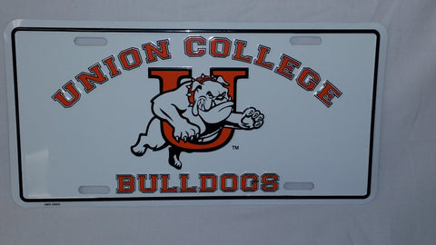 White Union Bulldog License Plate