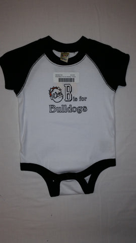 "White/Black ""B is for Bulldog"" Onesie"