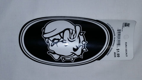 Black & White Bulldog Head Euro Sticker