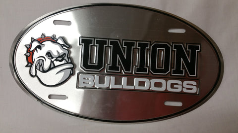 Chrome Oval Union Bulldogs License Plate