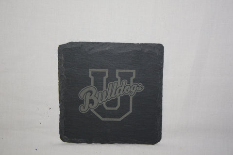 Square Slate Coasters Engraved with U Logo