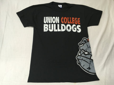 Black Distressed Bulldog Tee