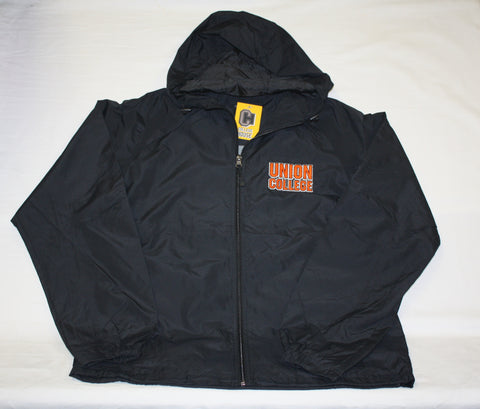 Full Zip Black Windbreaker with Hood