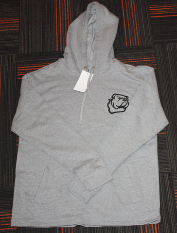 Open Bottom Heather Grey Hoodie w/ Bulldog Logo
