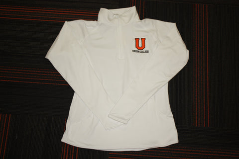 Ladies White Sport Wick 1/2 Zip Pullover