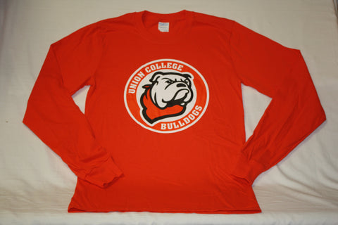 Orange Long Sleeve Circle Bulldog Logo Tee