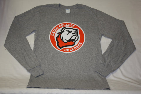 Long Sleeve Gray Circle Bulldog Logo Tee
