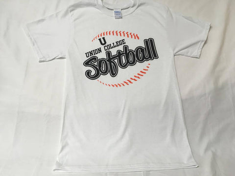 White Softball Stitching tee