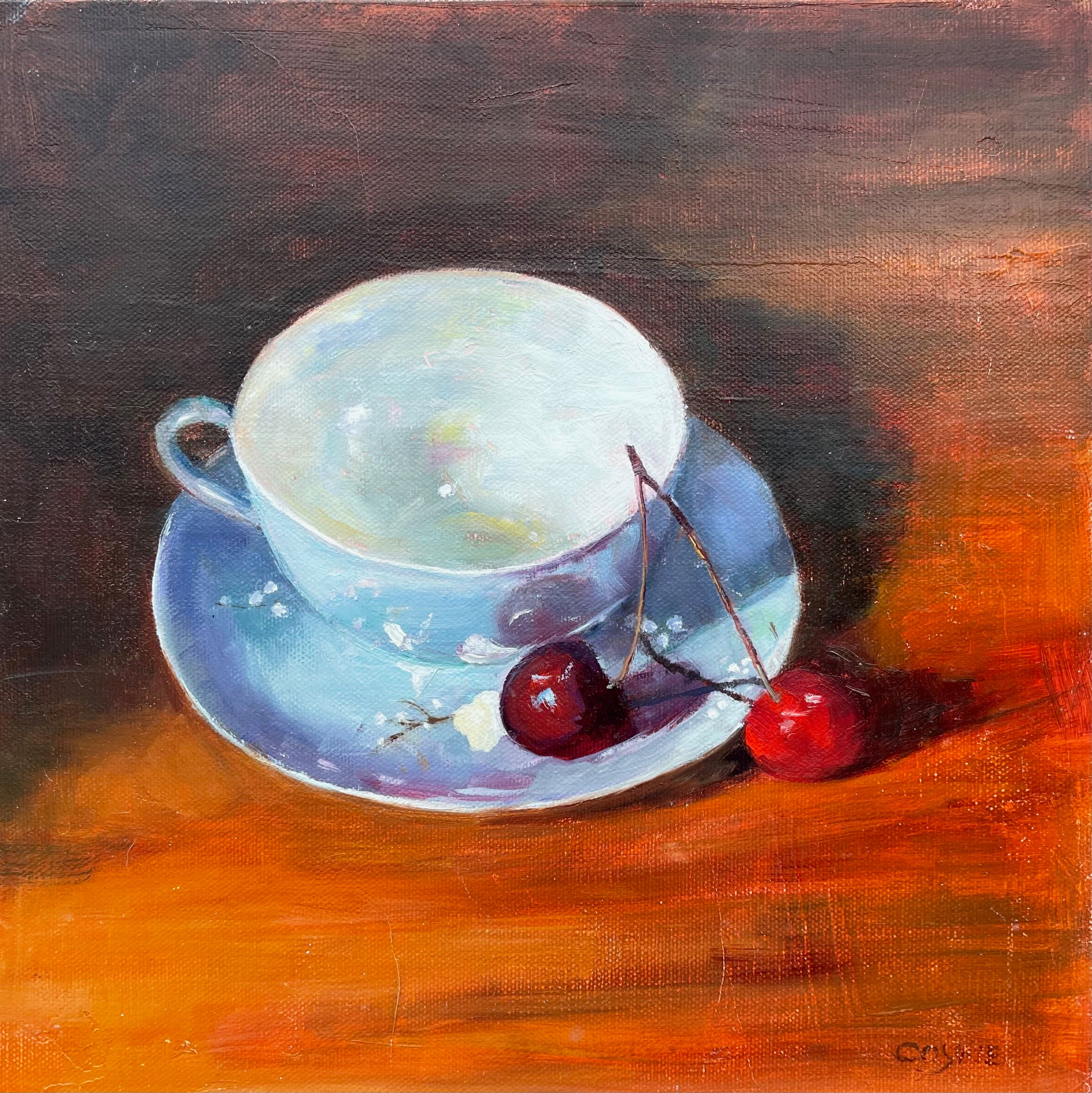 Teacup and Cherries Still Life