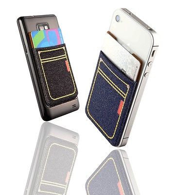 Sinji Denim Pouch, Card Holder, Money Clip for iPhone, Samsung Galaxy, LG. Motorola, HTC and more