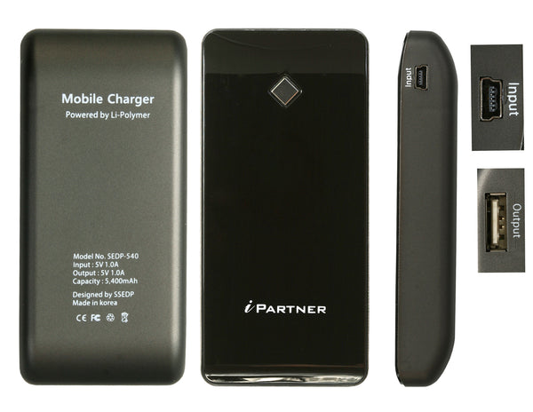 iPartner External Battery  (5,400 mAh) Pack and Back Up Charger for iPhone 5S, 5, 5C, Samsung Galaxy, Motorola and more
