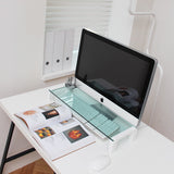 i-Bridge Mini MC-500 Tempered Glass Laptop Monitor Stand White Slim Universal Monitor Laptop Multimedia Stand with Desk Organizer