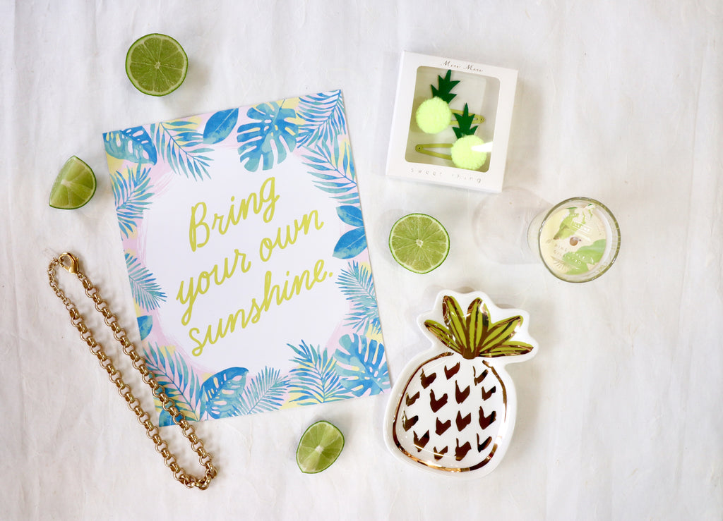 Be like a Pineapple, sweet on the inside and always wear your crown! A few of our favorite fruit flavored accessories at Coco and Duckie.