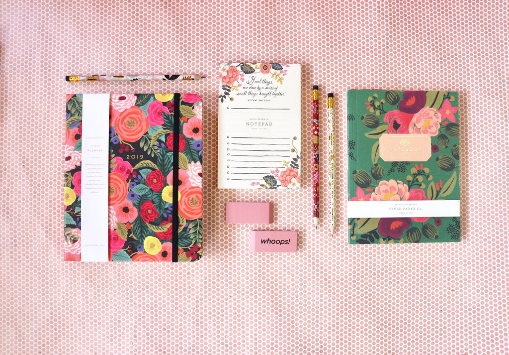 Rifle Paper Co. has you covered with supplies to keep you organized! With notebooks, pencils, notepads and a new Planner for 2019!